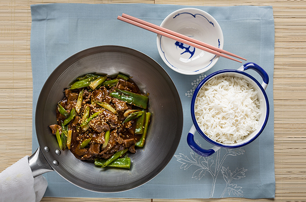 beef stir-fry with green peppers