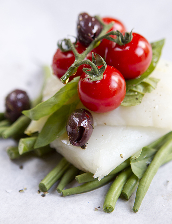 cod green bean and cherry tomato parcel