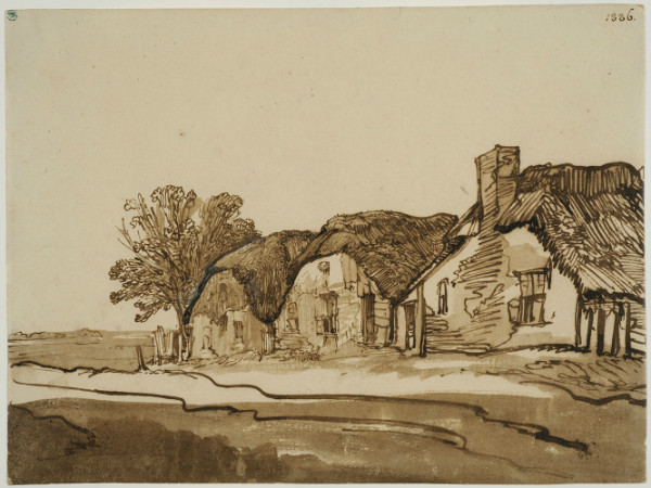 Rembrandt Three Thatched Cottages by a Road