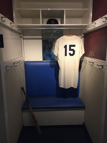 The locker of Yankees great Thurmon Munson