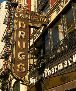 c.o. bigelow pharmacy sign