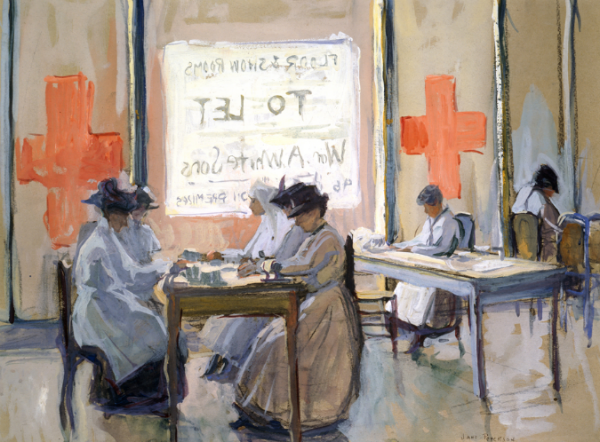red cross work room painting
