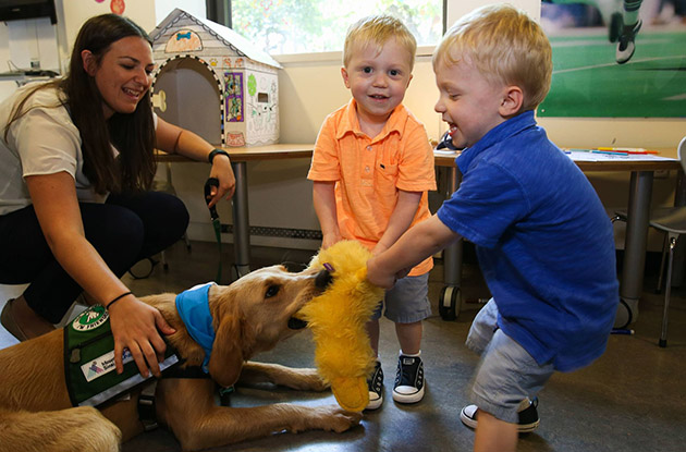 twin boys play with service dog