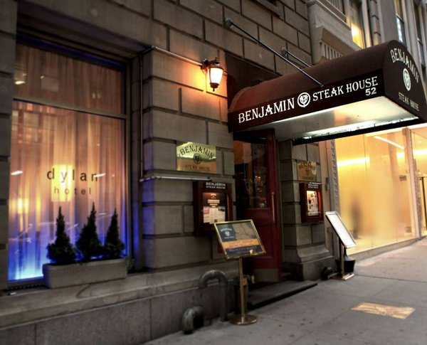 Exterior of Benjamin Steakhouse.
