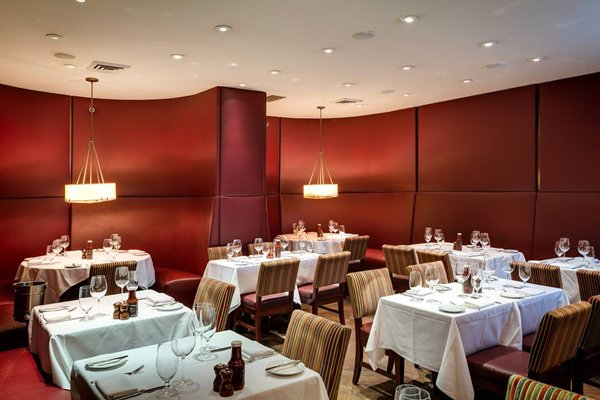 Interior dining room in Benjamin Steakhouse.