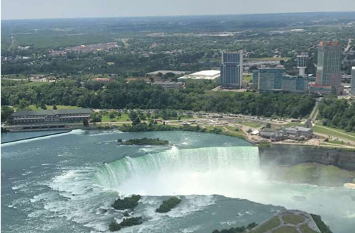 A view of Niagara Falls from the air