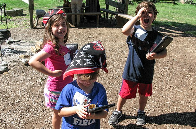 three young children at pirate quest in sleepy hollow
