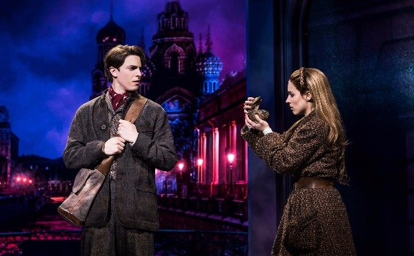 Derek Klena's Dmitry and Christy Altomare's Anastasia with Russia as a backdrop. Photo by Matthew Murphy.