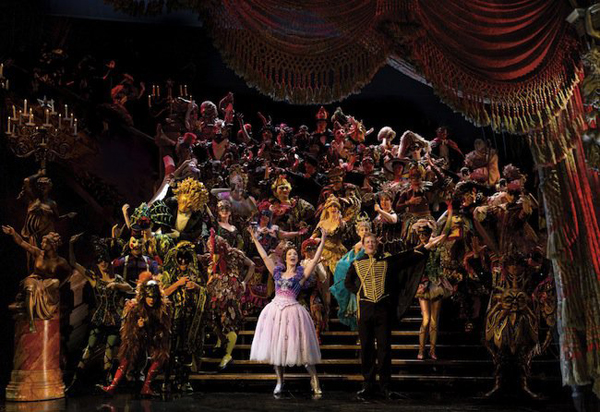 A performance of The Phantom of the Opera on Broadway.