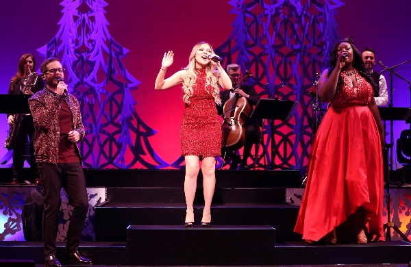Pictured: Josh Kaufman, Bianca Ryan and Candice Glover in a scene from HOME FOR THE HOLIDAYS Photo Credit: Carol Rosegg