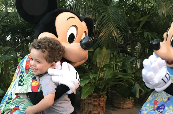boy and mickey mouse