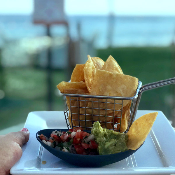 salsa, chips, and guacamole