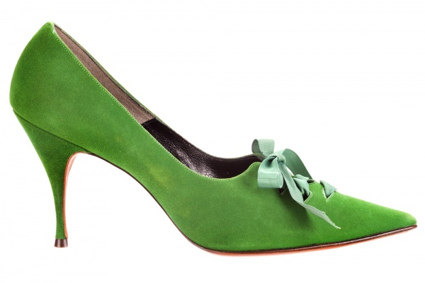 suede green pointed-toe laced pump weitzman