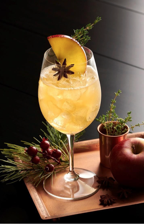 orchard spritz whiskey cocktail