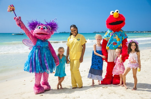 beaches negril sesame street characters on the beach