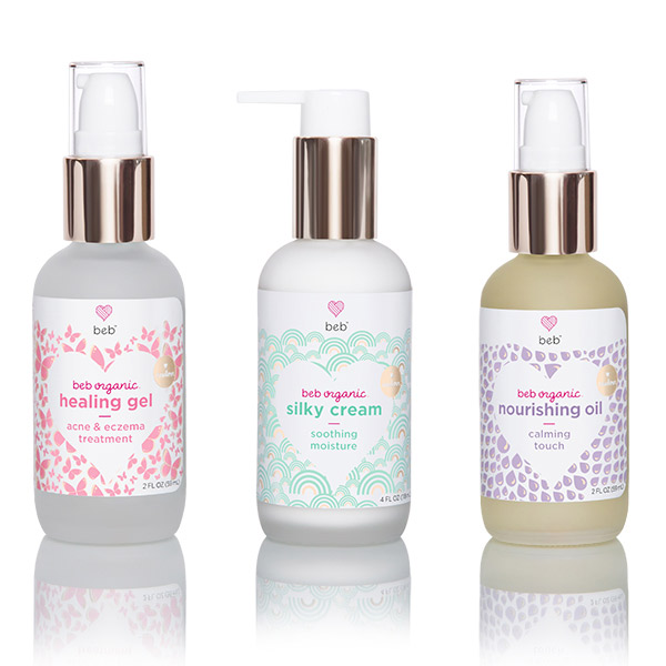 BEB Organic healing oil, silky cream, and nourishing oil