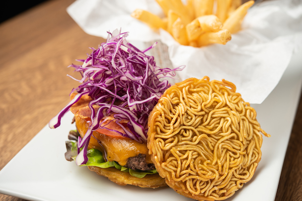 SNL Cheeseburger with ramen bun