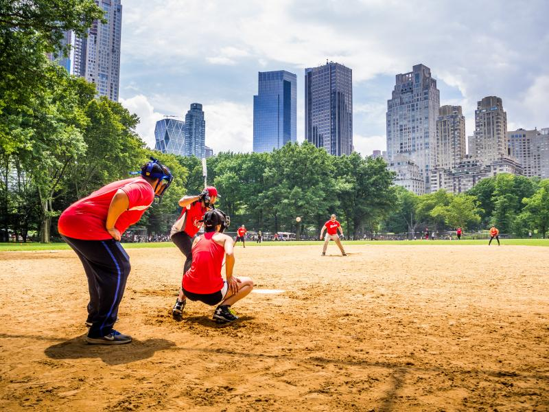 central park skyline baseball pitching