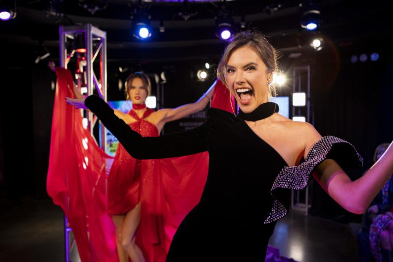 Alessandra Ambrosio with her wax figure