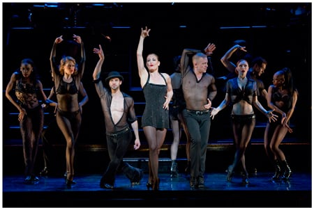 Terra C. MacLeod (as Velma Kelly) and the cast of Chicago on Broadway