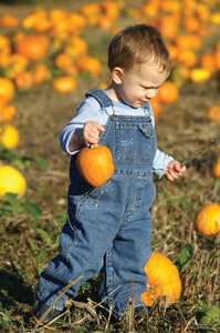 child in pumpkin patch