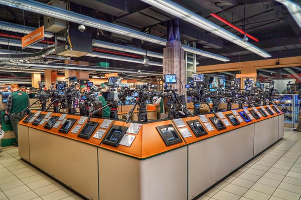 An assortment of video cameras on display at B&H Photo Video.