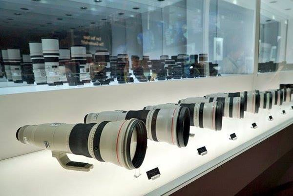 An assortment of camera lens on display at B&H Photo Video.