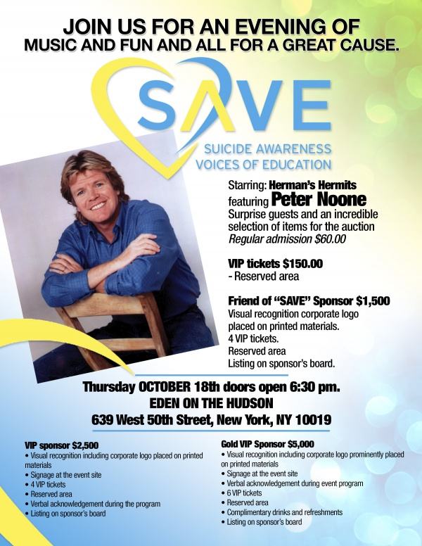 SAVE: Suicide Awareness Voices of Education Benefit Featuring