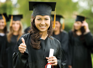 graduate giving thumbs up, holding diploma