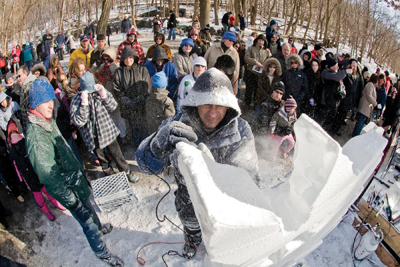 Knickerbocker Ice Festival in Rockland County, NY; ice carving demonstration