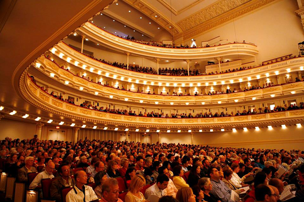 An interior view of Carnegie Hall.