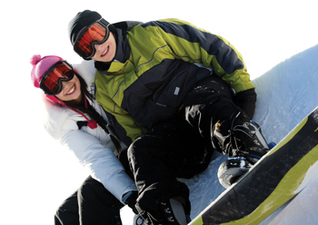 young kids snowboarding; snowboarders