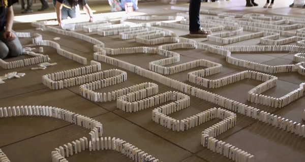 A domino display at the National Museum of Mathematics.