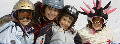 skiers at smugglers notch; children skiing