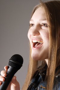 generic girl singer; singing karaoke