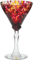 Bohemiarts martini glass in red rose