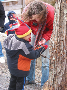 maple sugaring, mom and child