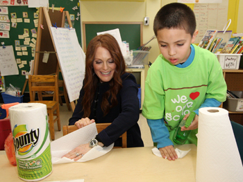 Julianne Moore participates in Bounty's Make a Clean Difference Campaign