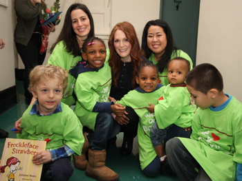 Actress Julianne Moore with students from PS 63 William McKinley Elementary School in Manhattan