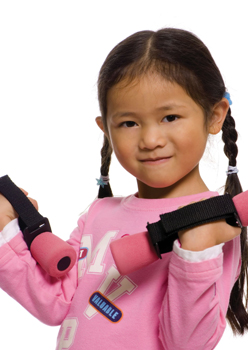 young girl lifting weights; strength traning for kids