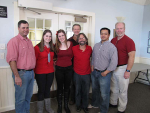 (Left to Right): Brendan O'Rourke, Eve Shapiro, Samantha Kravietz, Dr. Chris Byron, Antonio Villanueve, Jim McNichols; Back row: Dennis Fields