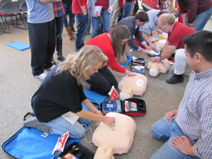 Students learn to use AEDs