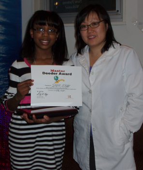 Dr. Lily Eng, dentist; Deja Irby, good deed contest winner