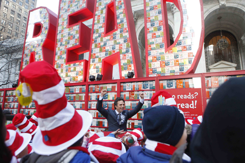 Mark Ruffalo on the steps of the New York Public Library during Read Across America launch event