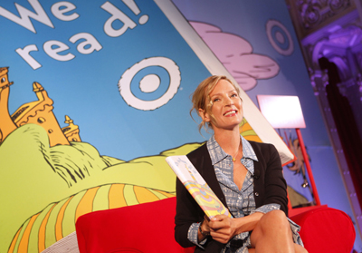 Uma Thurman read Dr. Seuss during Read Across America Launch event.