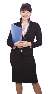 woman in business clothing, holding folders