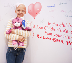 Ella, a St. Jude patient, at Build-A-Bear Workshop's 'Cause for Celebration' launch party