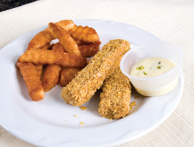 fake fish sticks, tartar sauce, and french fries recipe