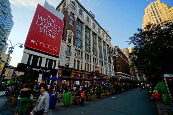 An exterior view of Macy's Herald Square on 34th.