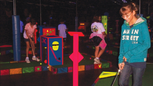 Glo Putt, glow in the dark mini golf, at The Sports Place
